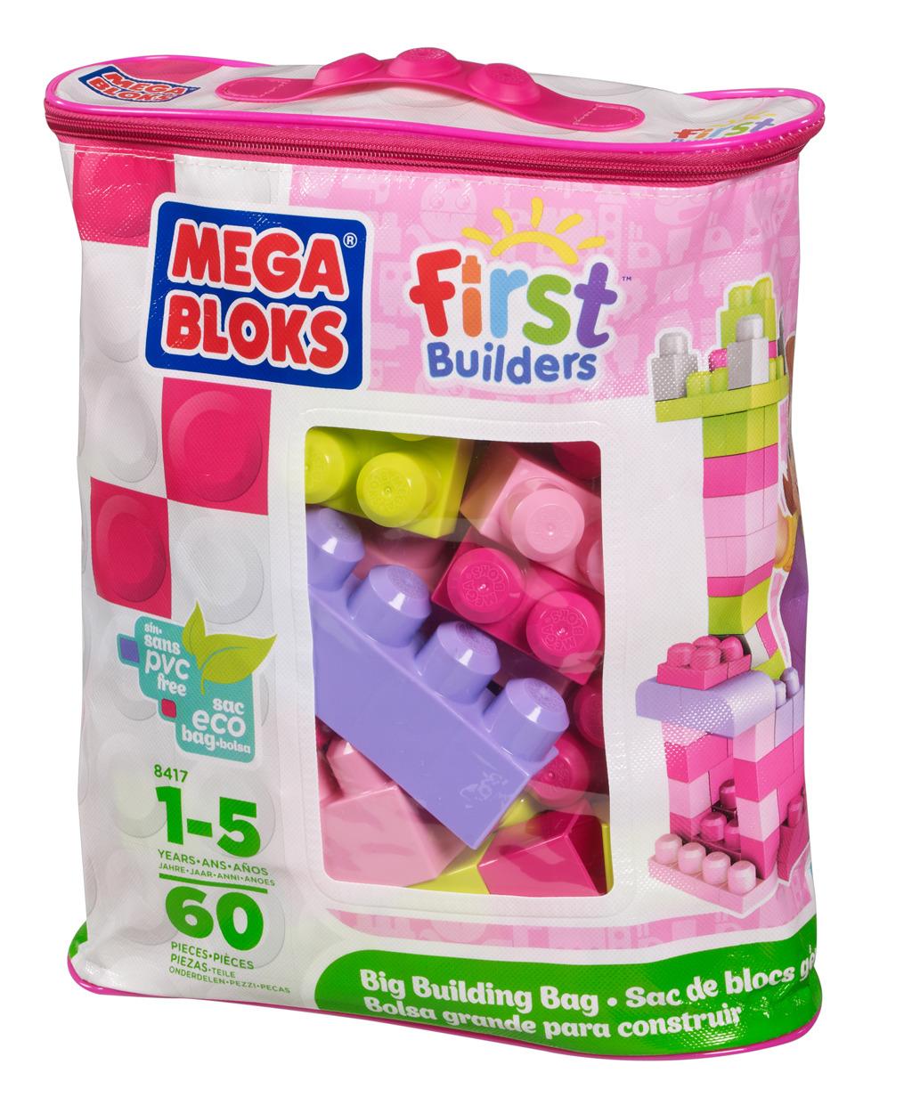 Kostky v plastovém pytli - růžová barva, 60 dílů