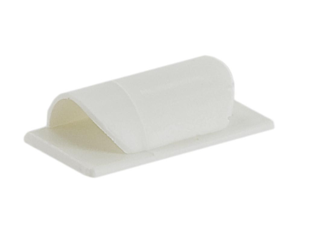 4W Organizér kabelů lepící PVC bílý, 6ks
