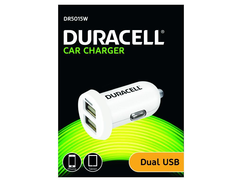 Duracell Dual USB Auto-nabíječka bílá