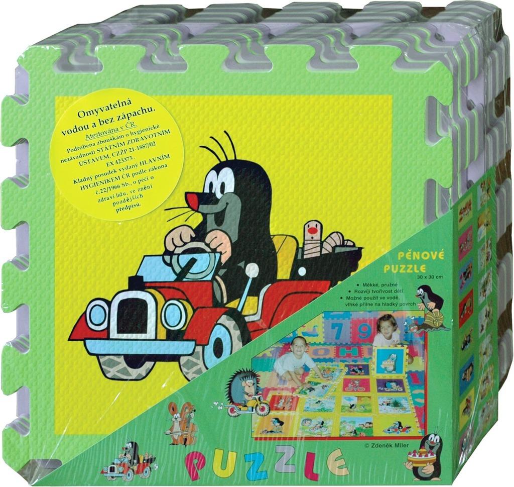 Pěnové puzzle Krtek 30x30 cm, 8ks auto