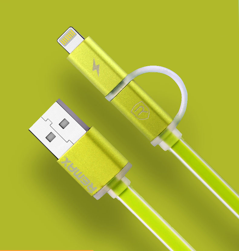 Datový kabel AURORA ,Micro USB / lighting, zelený
