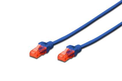 Digitus Ecoline Patch Cable, UTP, CAT 6e, AWG 26/7, modrý 0,5m, 1ks