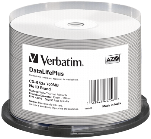 1x50 Verbatim CD-R 80 / 700MB 52x white wide thermal printable 34614195