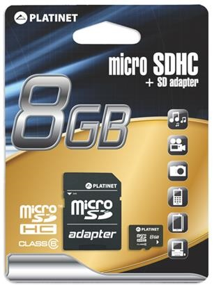 PLATINET microSDHC SECURE DIGITAL + ADAPTER SD 8GB class10