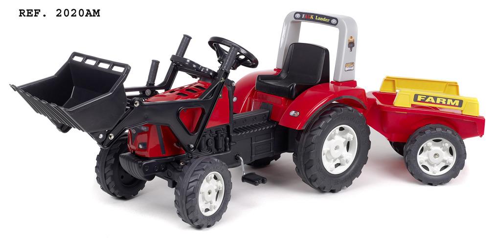 Traktor šlapací Lander 240X s přední lžící a valníkem červe