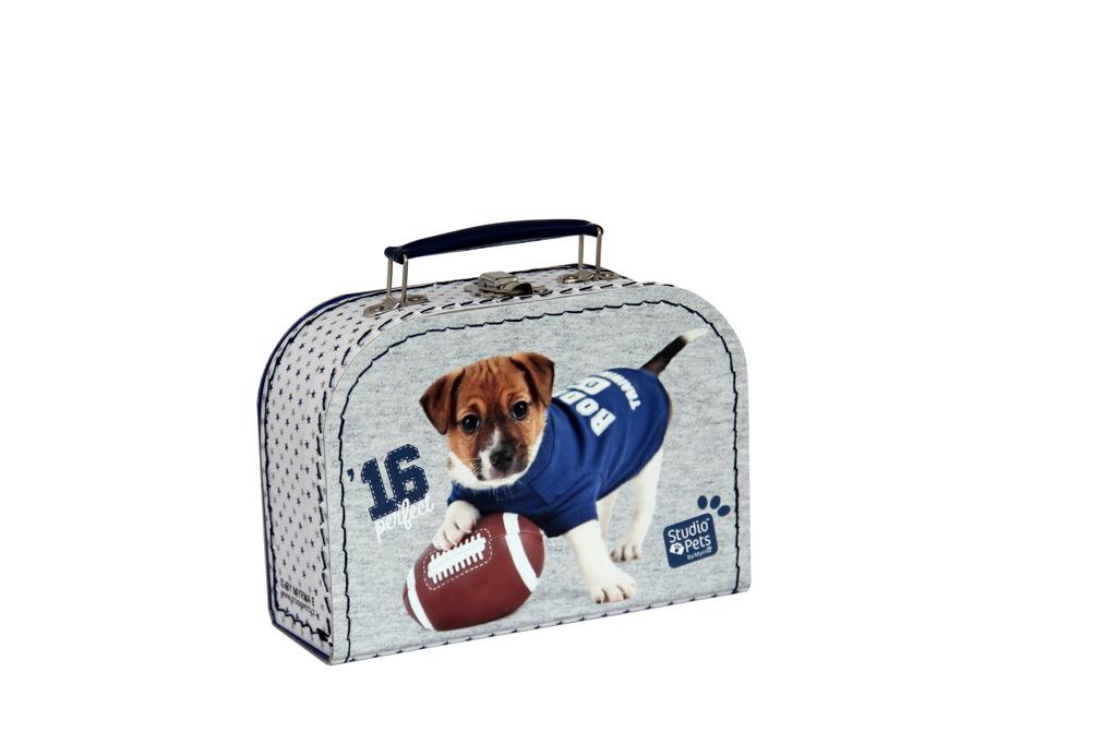 Kufřík Pejsek Rugby modro/šedý 20 cm