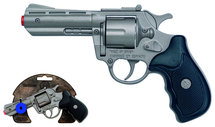Policejní revolver kovový stříbrný kovový 8 ran