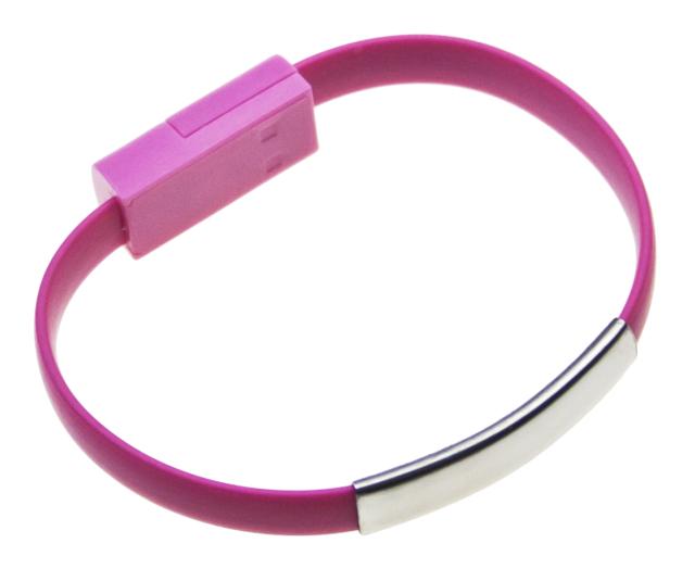 Datový kabel BRACELET microUSB nabíjecí pink