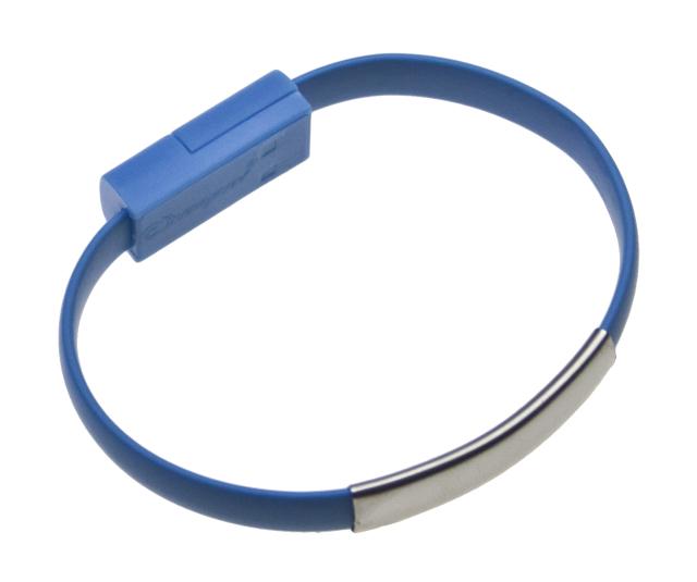 Datový kabel BRACELET microUSB nabíjecí blue