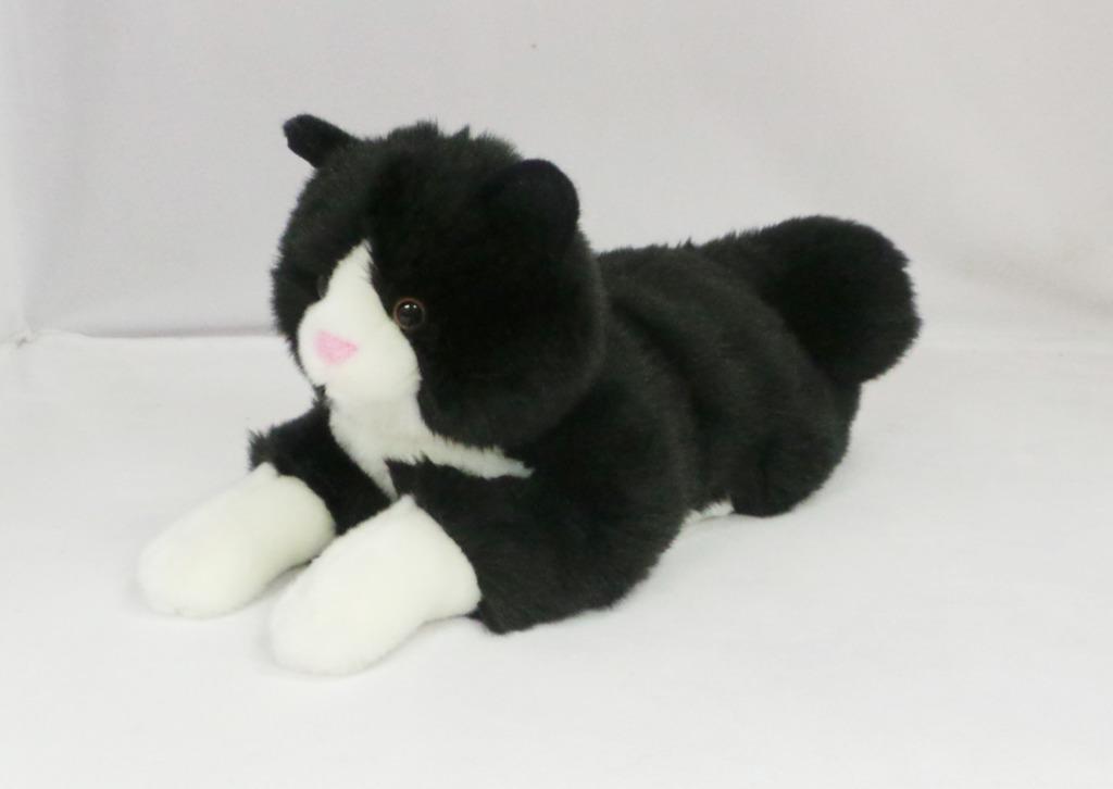 Kočka plyšová ležící černá 38cm