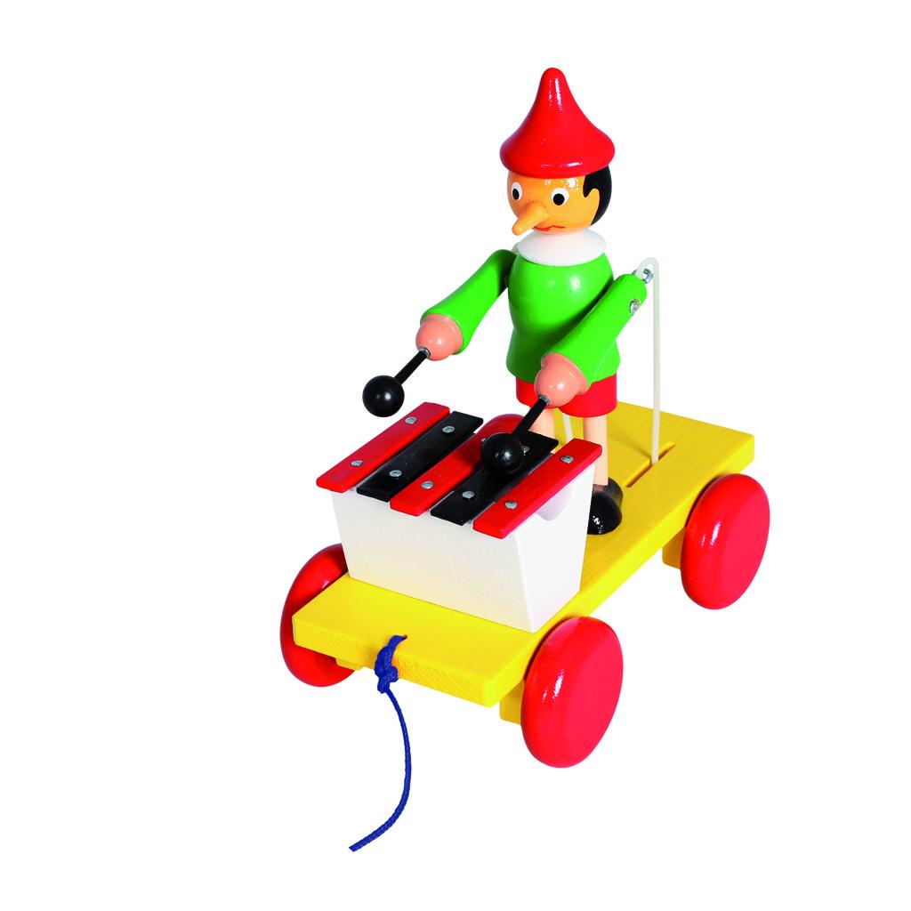 Dřevěný tahací Pinocchio s xylofonem