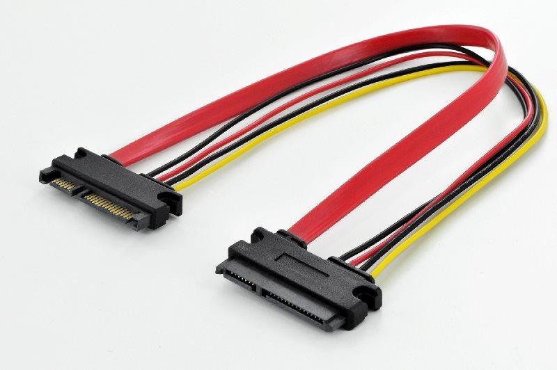 Digitus SATA prodlužovací kabel, SATA 22-pin M/F, 0.3m, napájecí a datový, straight, UL