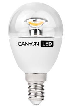 Canyon LED COB žárovka, E14, kompakt kulatá průhledná, 3.3W, 250 lm, teplá bílá 2700K, 220-240, 150 °, Ra> 80, 50.000 h
