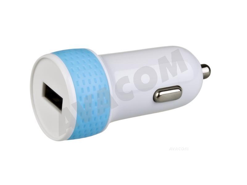 Nabíječka do auta AVACOM NACL-1XWB-10A s výstupem USB 5V/1A, bílo-modrá barva