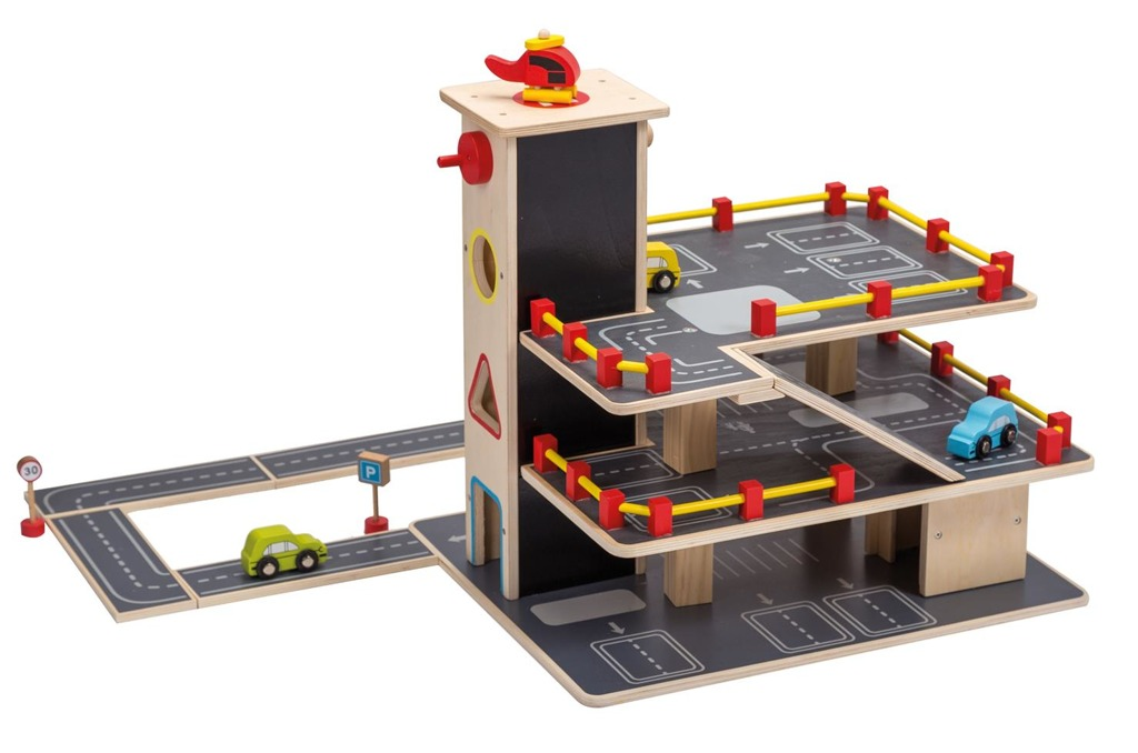 Dřevěné garáže se silnicí a autíčky