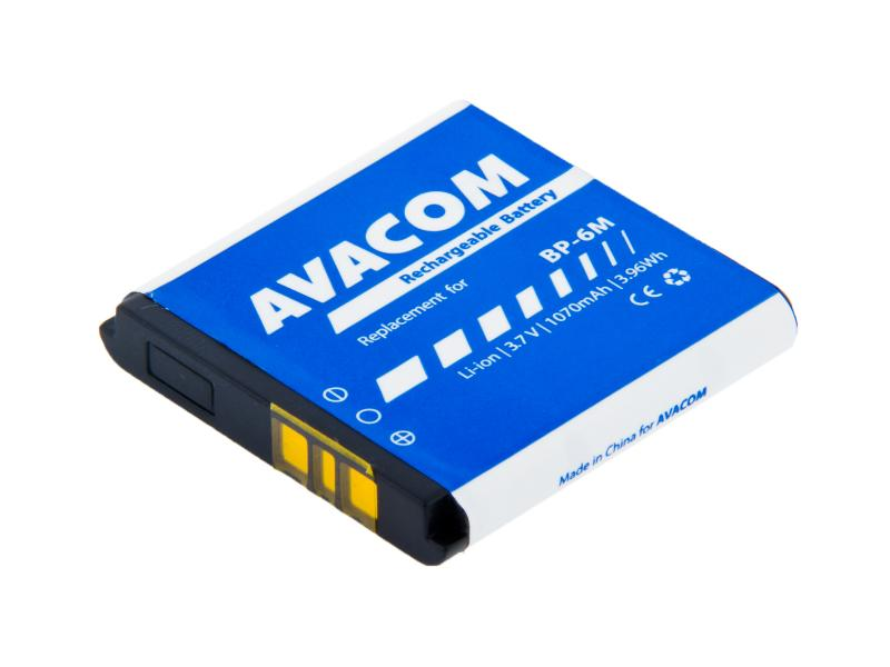 Baterie AVACOM GSNO-BP6M-S1070 do mobilu Nokia 6233, 9300, N73 Li-Ion 3,7V 1070mAh (náhrada BP-6M)
