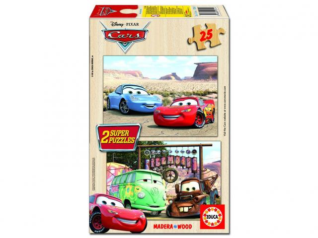 Dřevěné puzzle Cars 2, 2x25 dílků, dva motivy