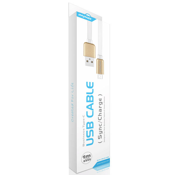 iMyMax Business Type-C USB Cable, White/Gold