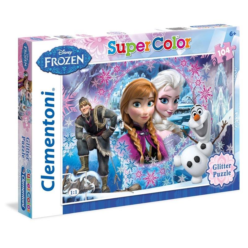 Puzzle Supercolor Glitter 104 dílků Ledové království