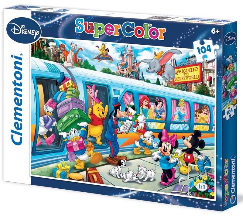Puzzle Supercolor 104 dílků Disney vlak