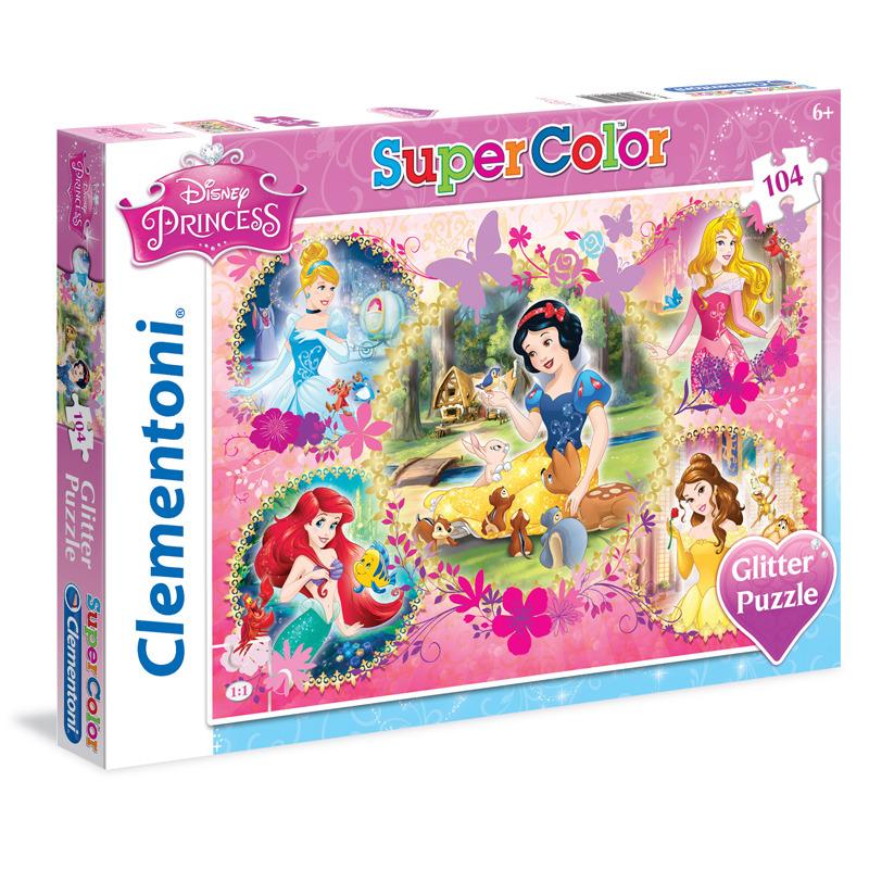 Puzzle Supercolor Glitter Princezny 104 dílků