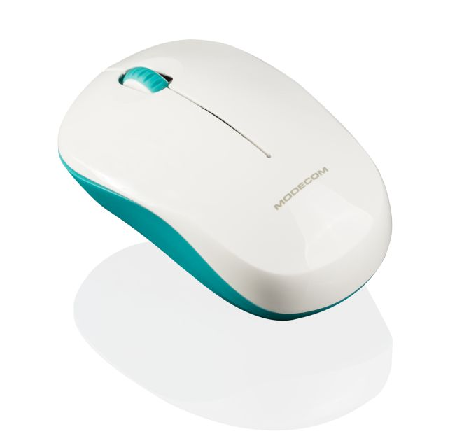 Modecom MC-WM121 bezdrátová optická myš, 3 tlačítka, 1600 DPI, USB nano 2,4 GHz, zeleno-bílá