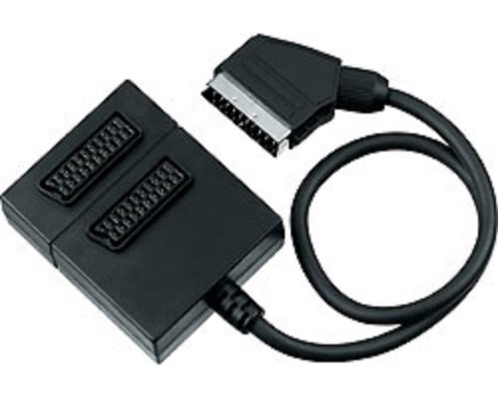 PremiumCord Adapter SCART-2xSCART F, kabel 0,5m