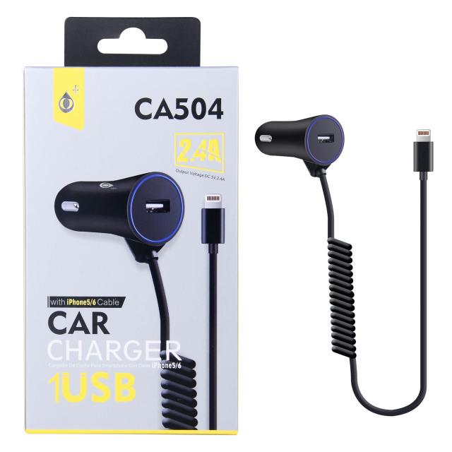 PLUS nabíječka do auta CA504, konektor Lightning, vstup USB 2,4 A, černá