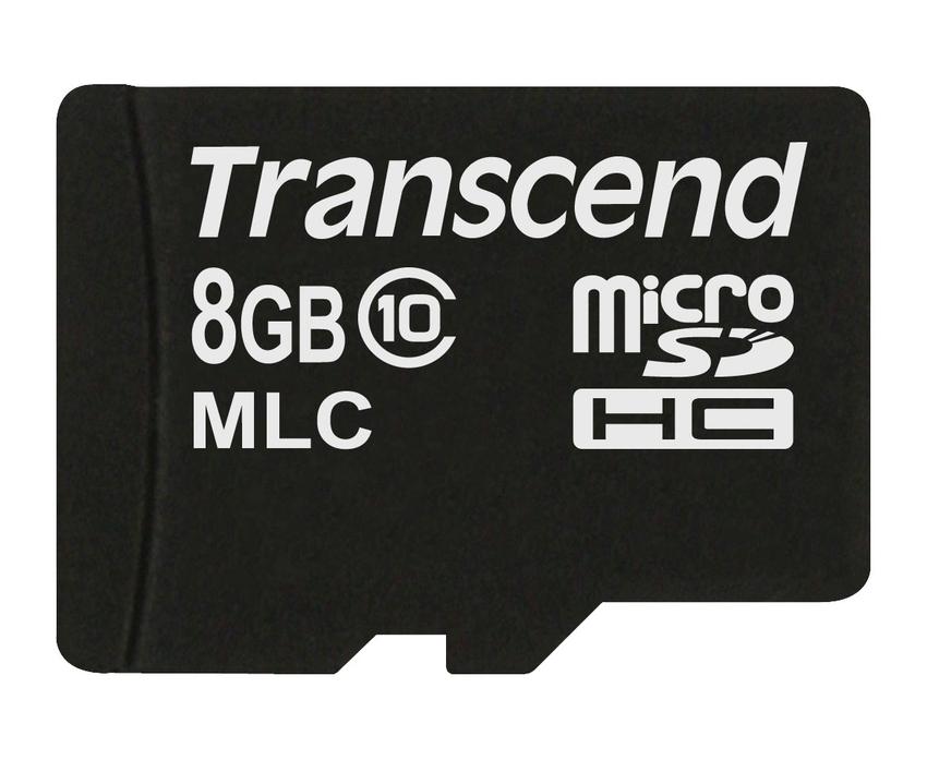 Transcend 8GB microSDHC (Class 10) MLC průmyslová paměťová karta (bez adaptéru), 20MB/s R, 16MB/s W