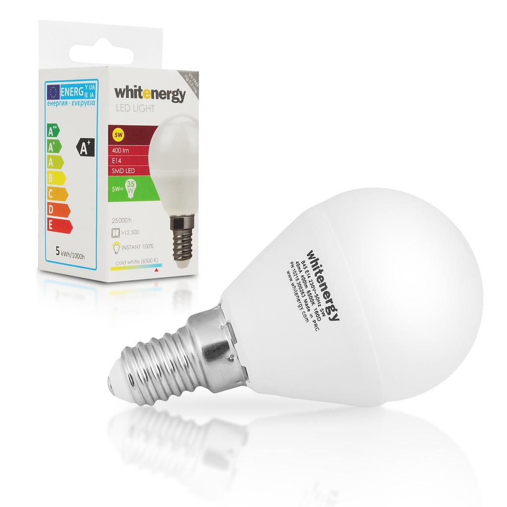 Whitenergy LED žárovka | 10xSMD2835| B45 | E14 | 5W | 230V |studená bílá| mléko