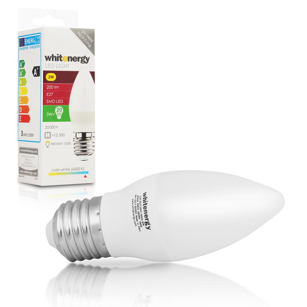 WE LED žárovka SMD2835 C37 E27 5W studená bílá