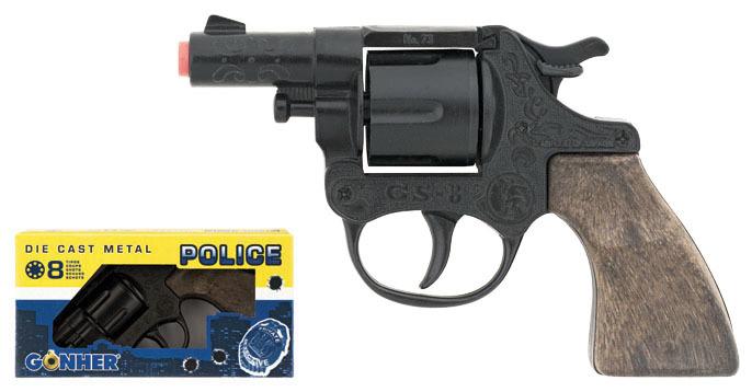 Policejní revolver kovový černý 8 ran