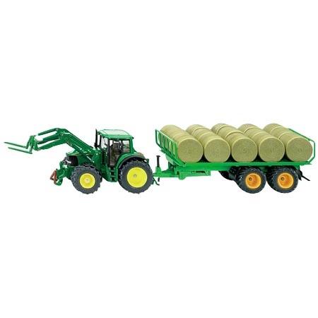 Traktor Siku 3862 s přívesem na kulaté balíky