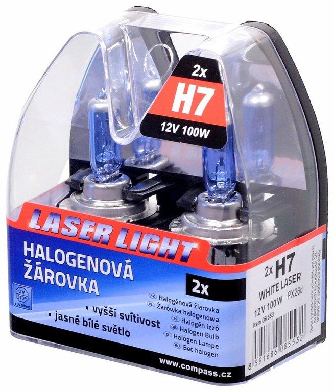 Žárovka 12V H7 100W PX26d WHITE LASER 2ks, COMPASS