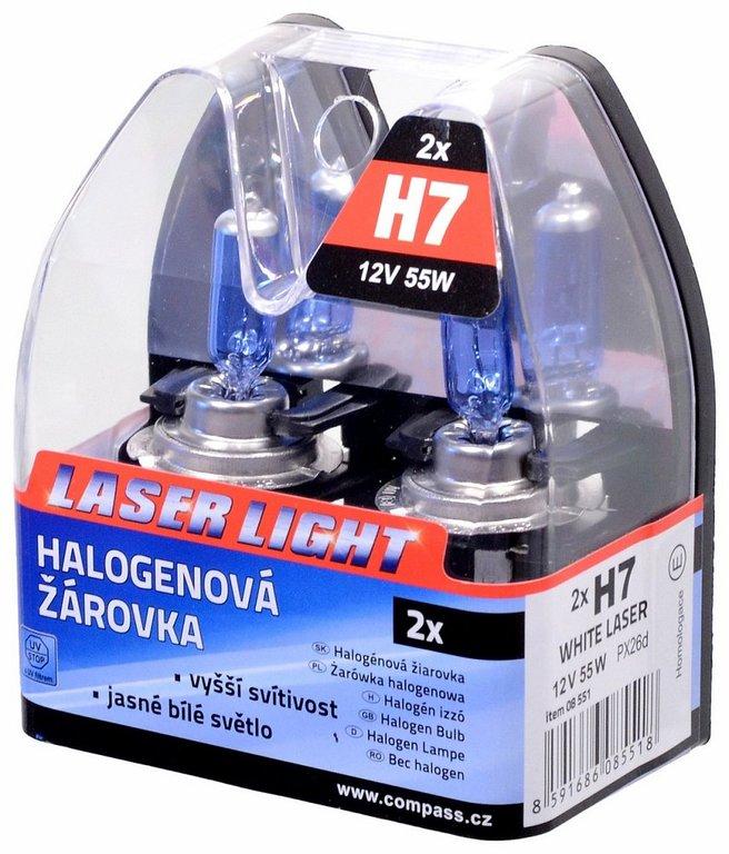 Žárovka 12V H7 55W PX26d WHITE LASER 2ks, COMPASS