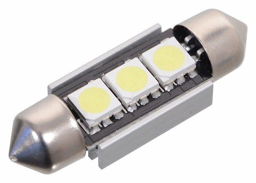 Žárovka 3 SMD LED 12V suf. SV8.5 38mm s rezistorem CAN-BUS ready bílá, COMPASS