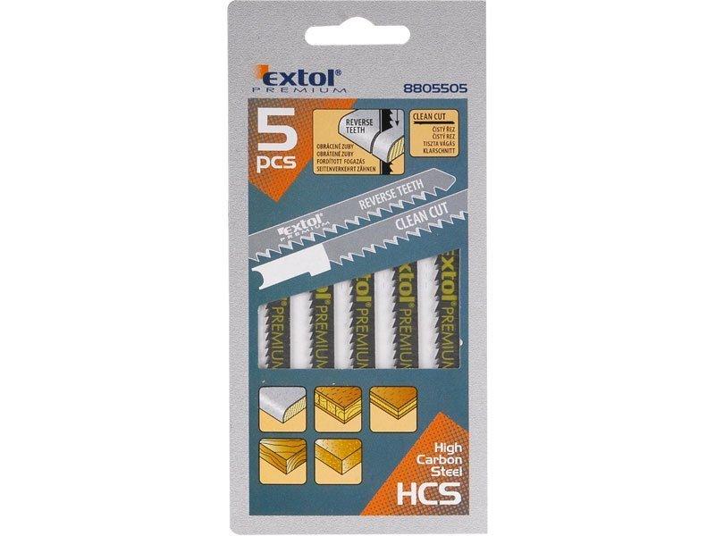 Plátky do přímočaré pily 5ks, 75x2,5mm, úchyt UNIVERSAL, HCS, EXTOL PREMIUM