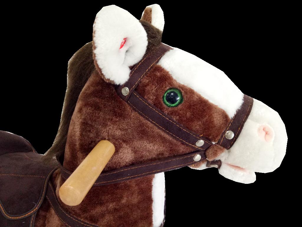 Houpací kůň závodní - hnědobílý se zvukem