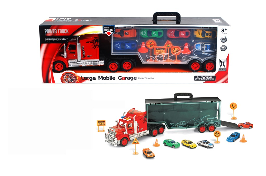 Mobilní garáž v designu náklaďáku s autíčky