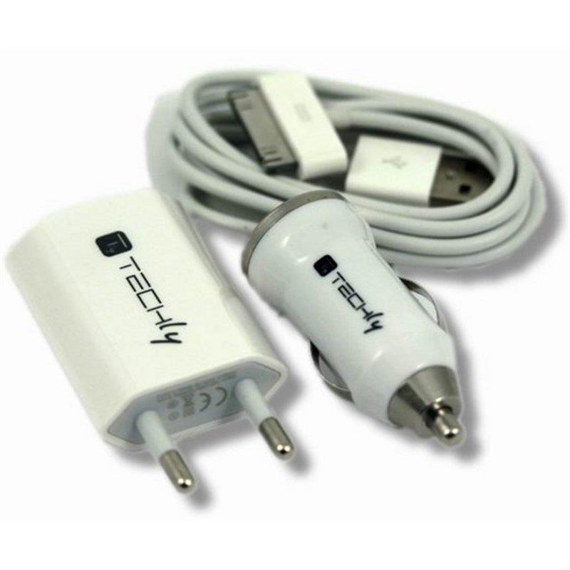 Techly Nabíjecí sada pro iPhone, nabíječka do auta a síťová s USB kabelem