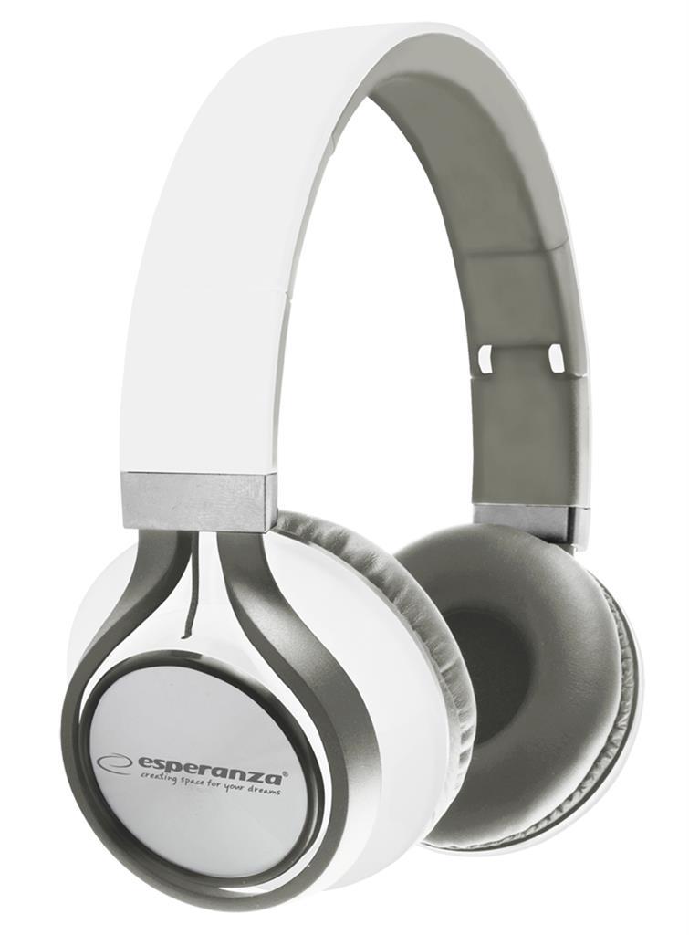 Esperanza EH159W FREESTYLE Stereo sluchátka, skládací, ovl. hlasitosti, 2m, bílá