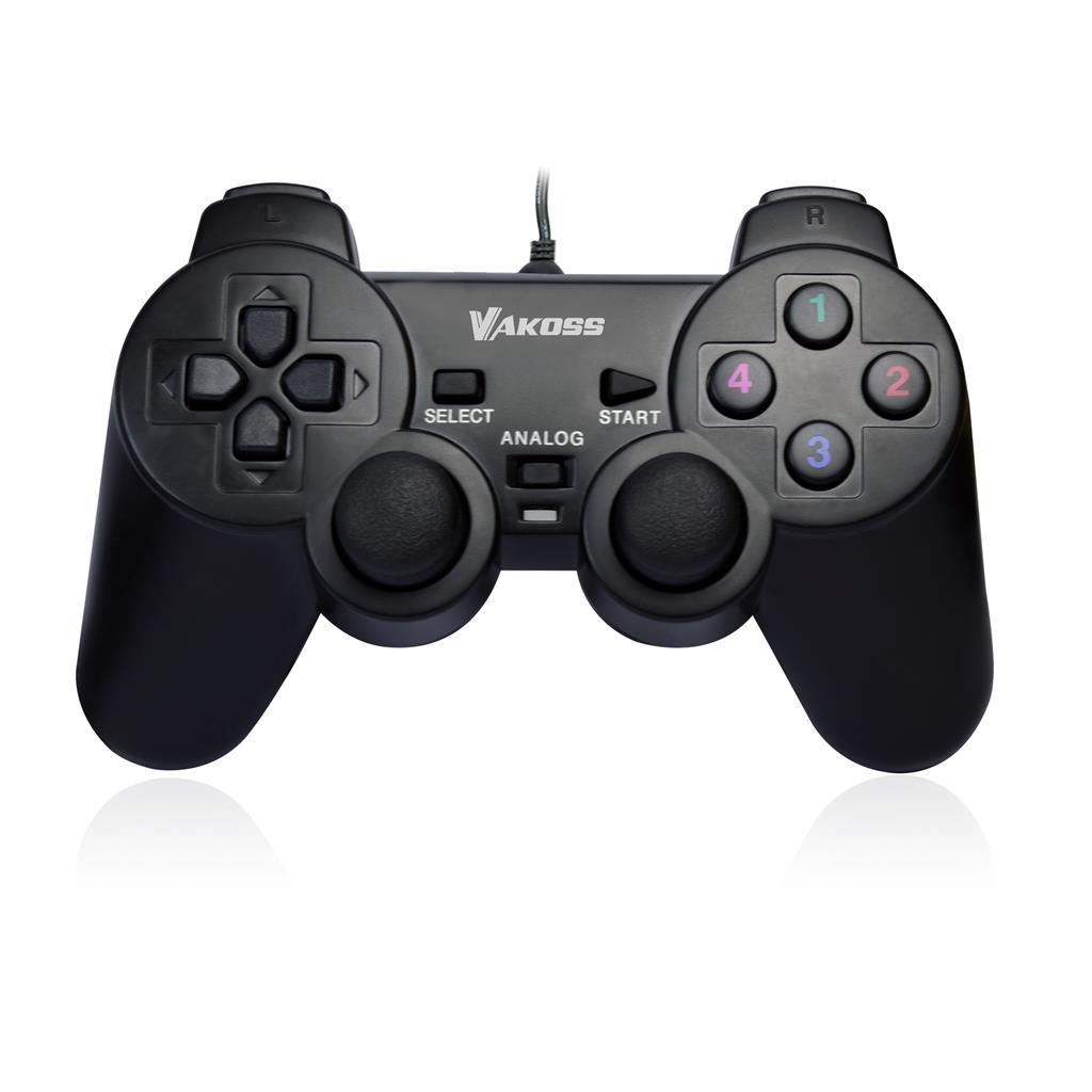 VAKOSS Gamepad USB Double Shock, podporuje analogový a digitální režim GP-3755BK