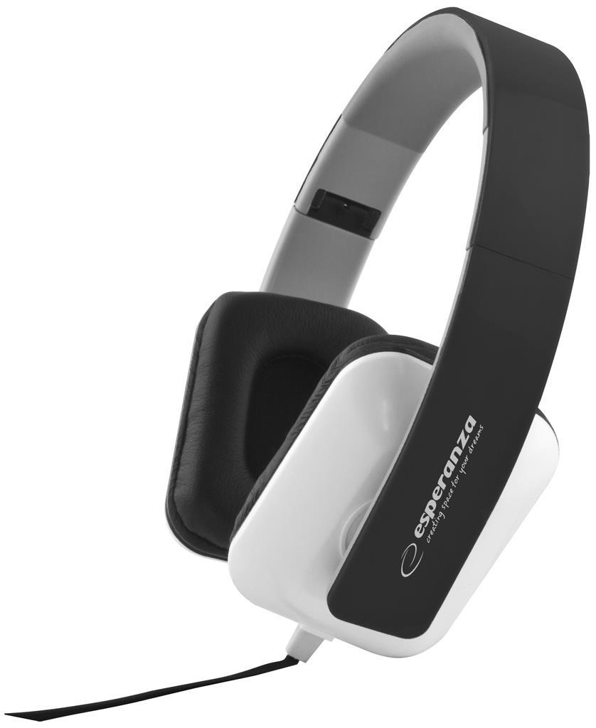 Esperanza EH137K JAZZ Stereo sluchátka, skládací, ovl. hlasitosti, 3m, černá