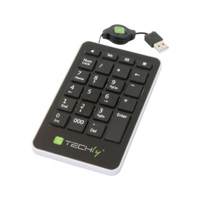 Techly USB numerická klávesnice, 23 klávesy, svinovací kabel, černá