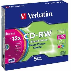 Verbatim CD-RW [ slim jewel case 5   700MB   12x   Colour ]