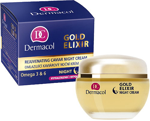 Přípravek proti vráskám Dermacol Gold Elixir Rejuvenating Caviar Night Cream 50ml
