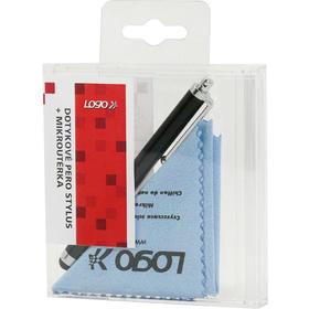 SUK009K Stylus černý + mikroutěrka LOGO
