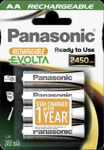 4ks Panasonic NiMH AA 2450 mAh Rechargeable Evolta