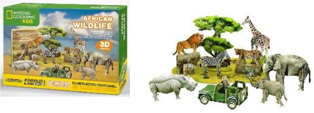 Puzzle 3D Africká divočina NG- 69 dílků