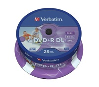 1x25 Verbatim DVD+R Double Layer 8x Speed, printable, 8,5GB 75612